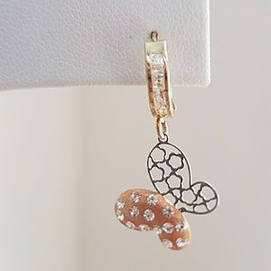 Jewelry - 10K Yellow Rose Gold Dangling Butterfly Earrings